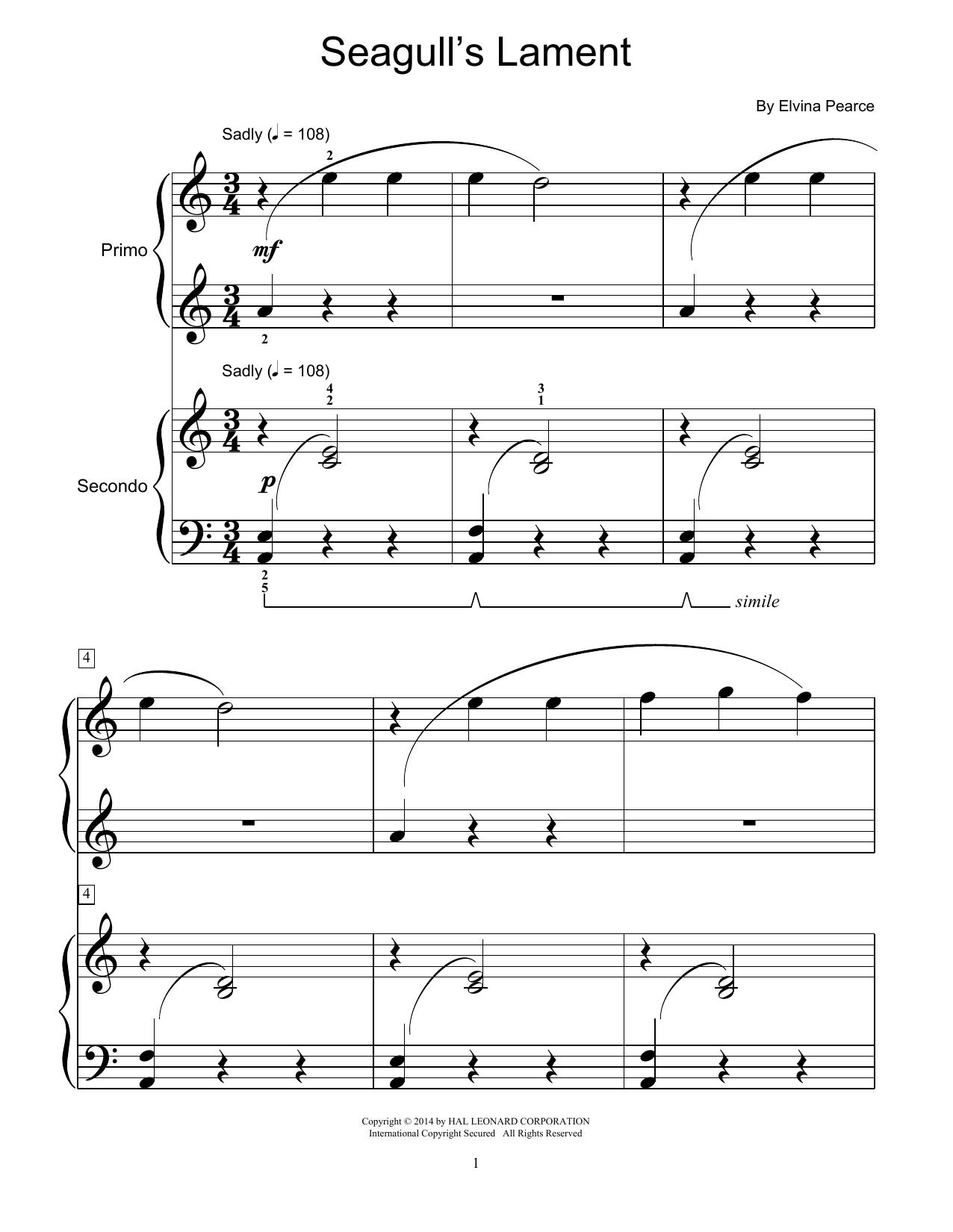 Partition piano Seagull's Lament de Elvina Pearce - 4 mains