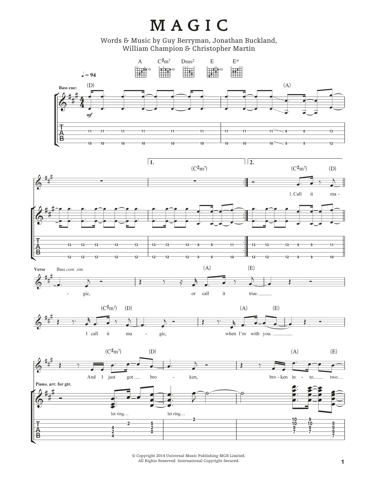 Tablature guitare Magic de Coldplay - Tablature Guitare