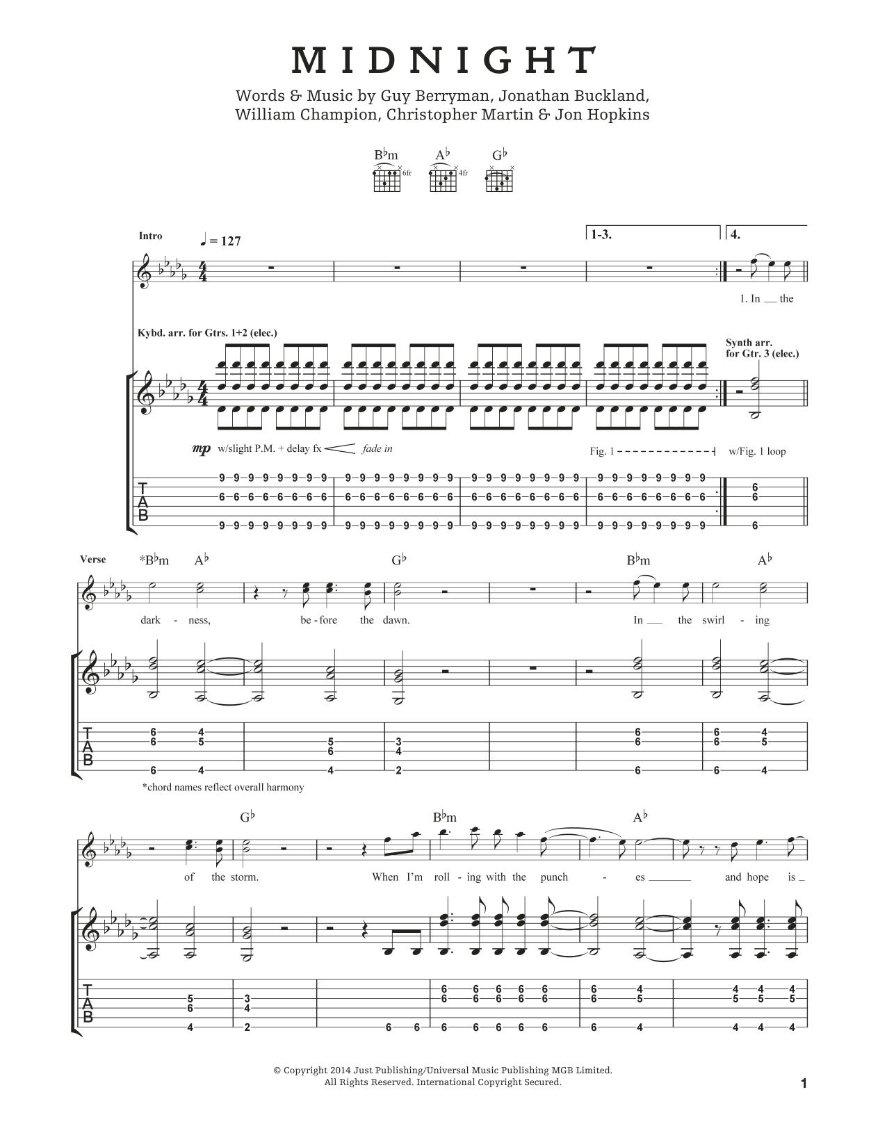 Tablature guitare Midnight de Coldplay - Tablature Guitare