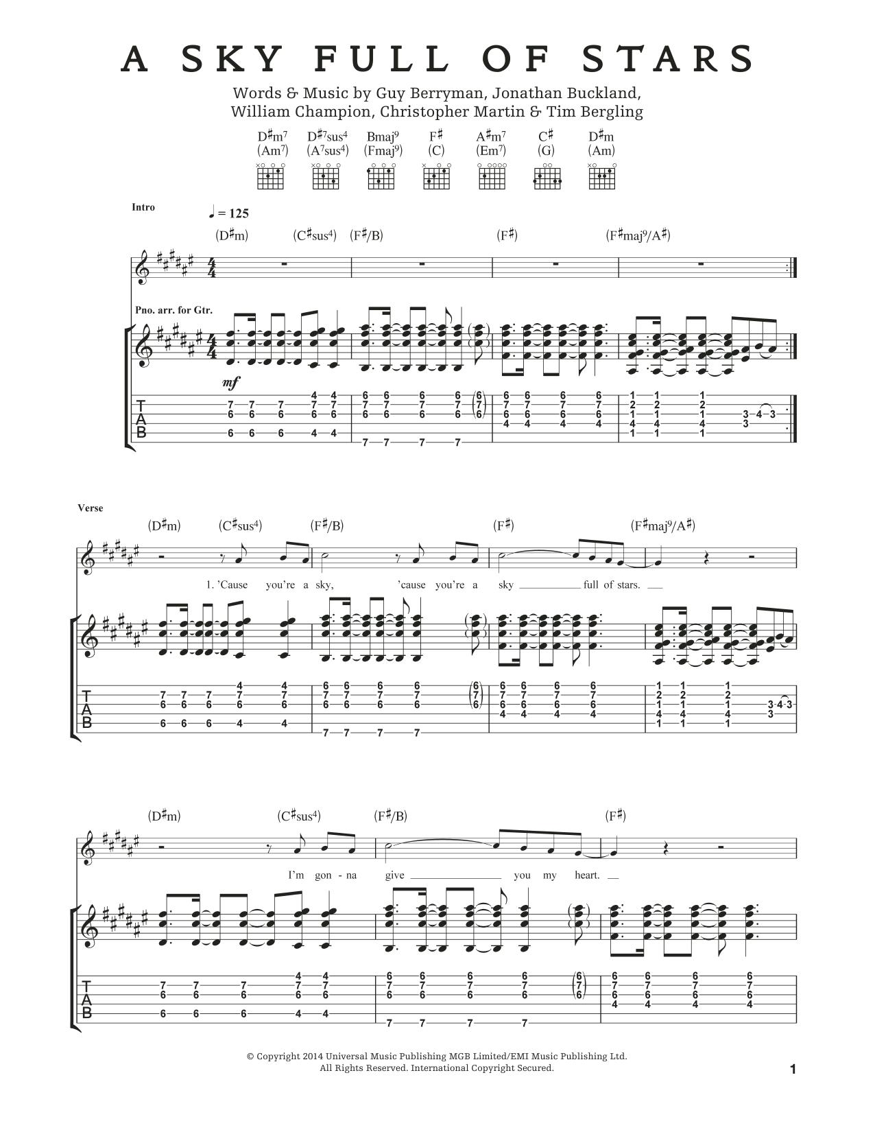 Tablature guitare A Sky Full Of Stars de Coldplay - Tablature Guitare