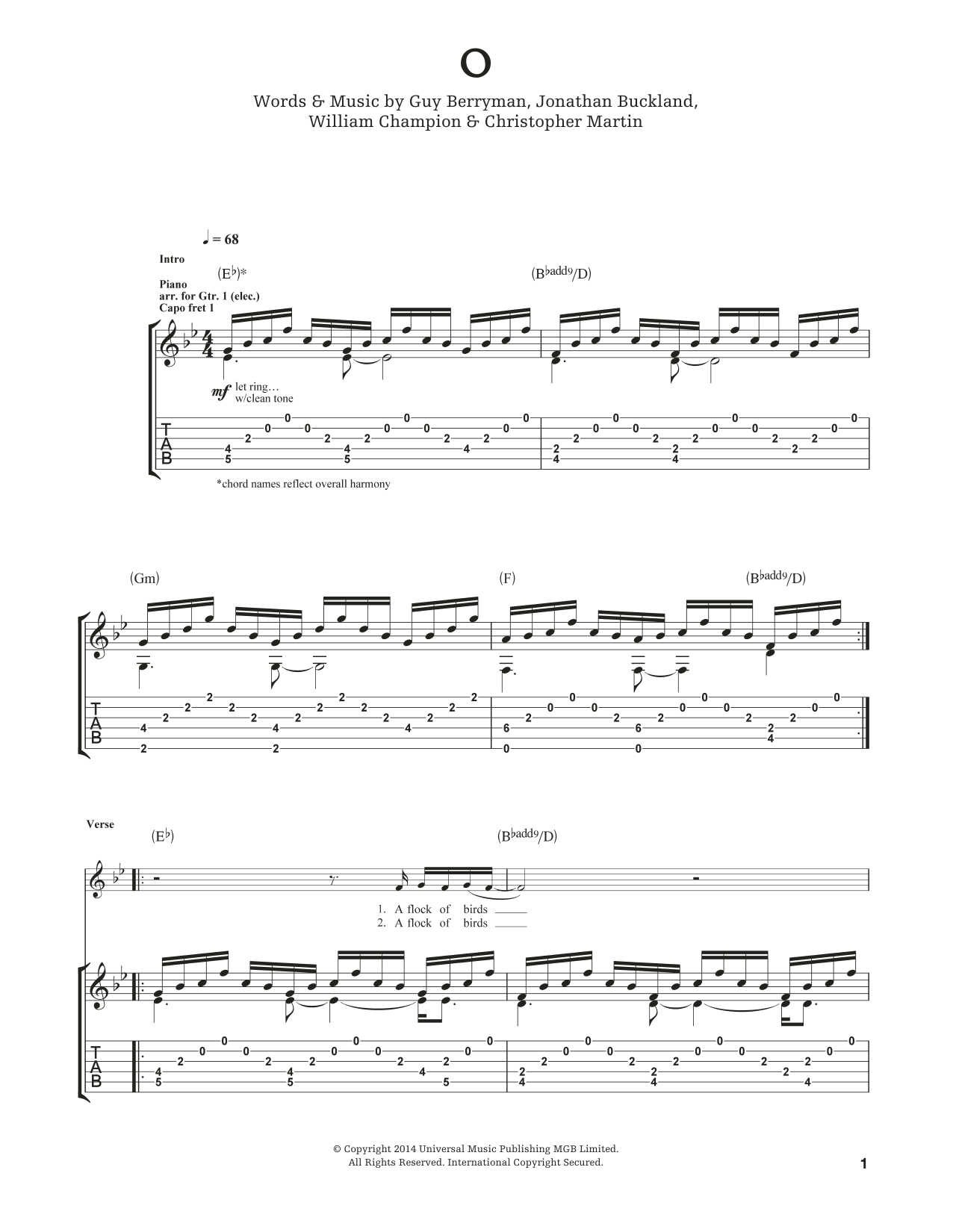 Tablature guitare O de Coldplay - Tablature Guitare