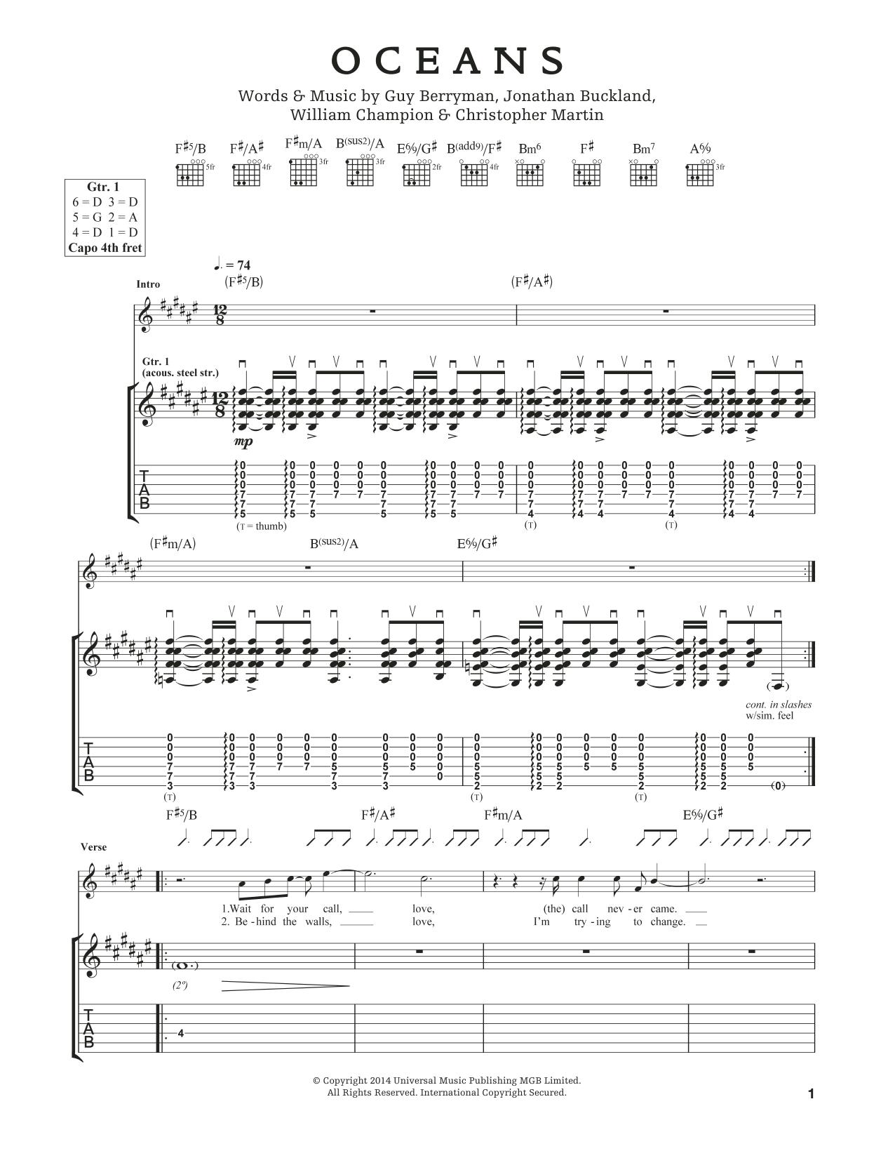 Tablature guitare Oceans de Coldplay - Tablature Guitare