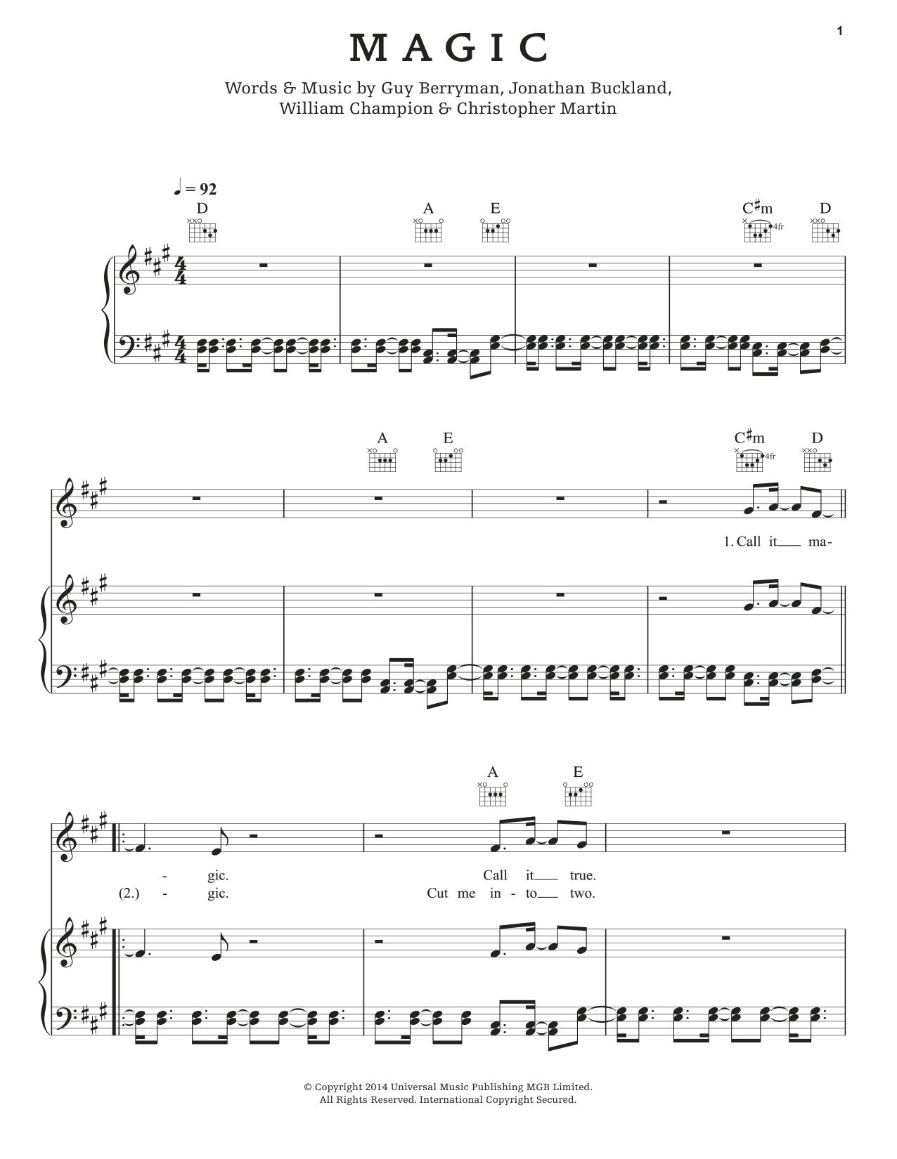 Partition piano Magic de Coldplay - Piano Voix Guitare (Mélodie Main Droite)