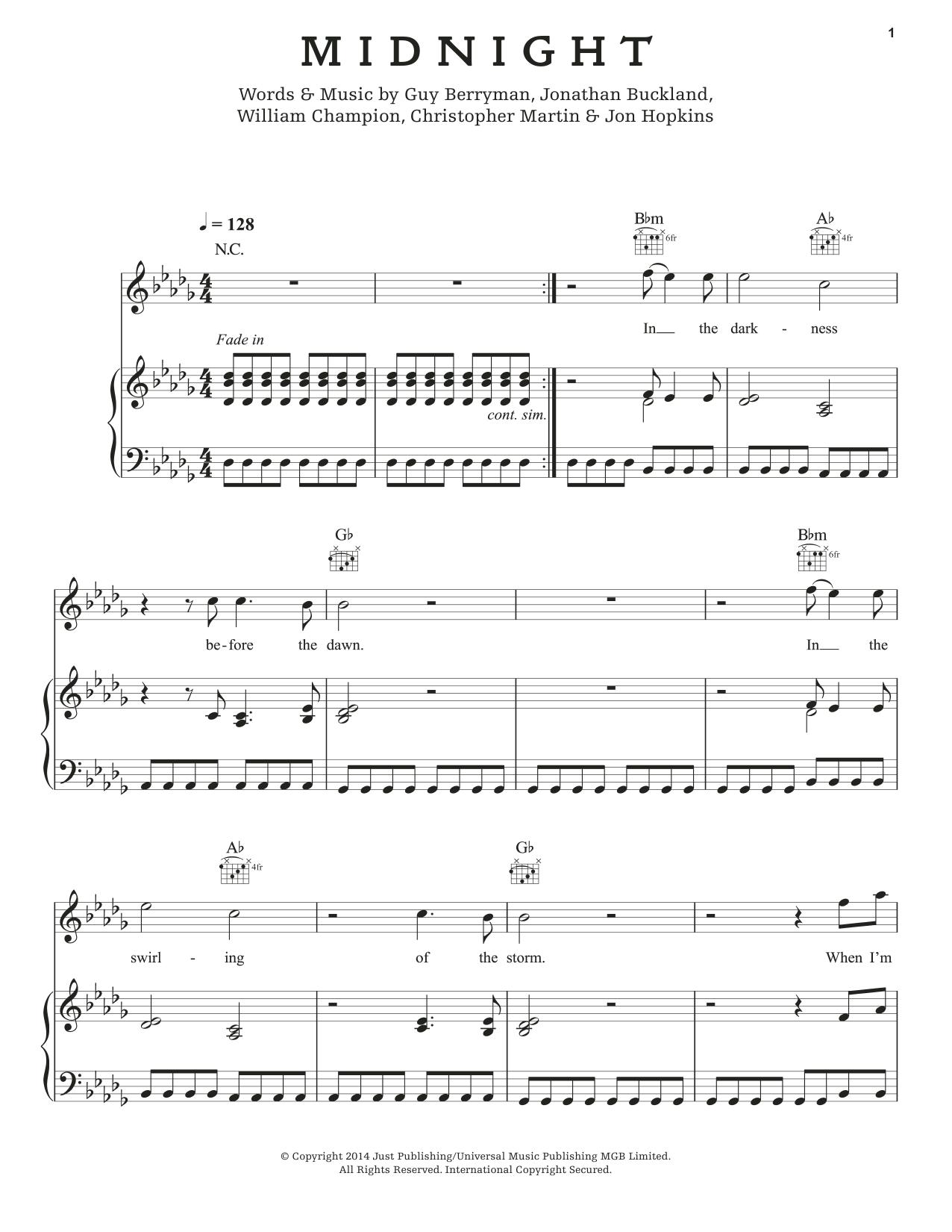 Partition piano Midnight de Coldplay - Piano Voix Guitare (Mélodie Main Droite)