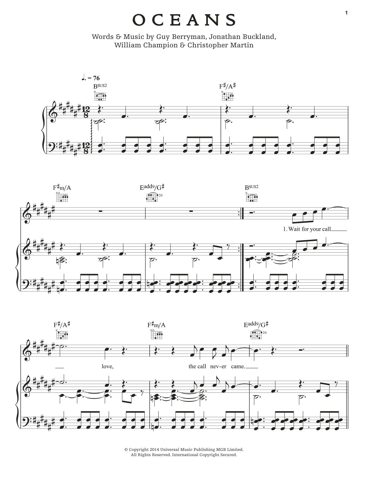 Partition piano Oceans de Coldplay - Piano Voix Guitare (Mélodie Main Droite)