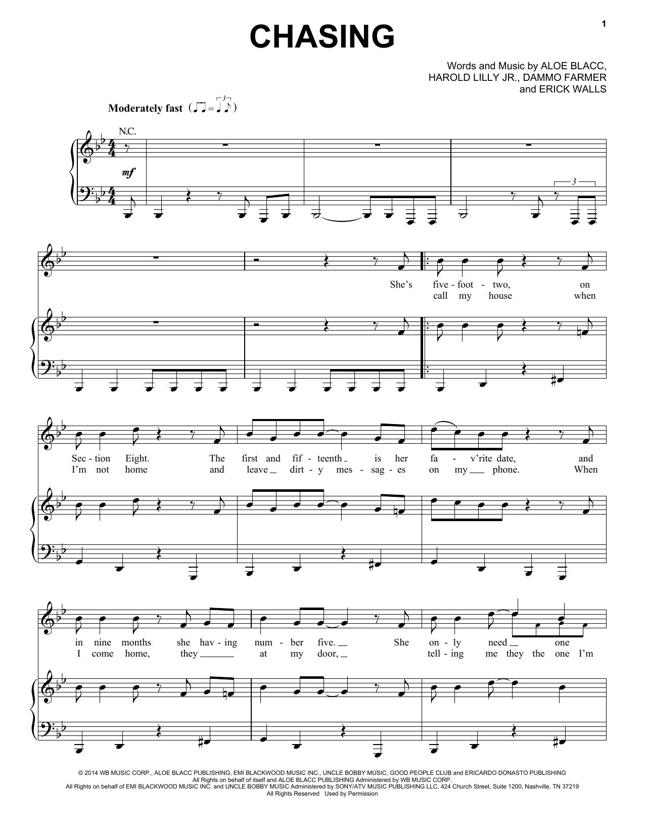 Partition piano Chasing de Aloe Blacc - Piano Voix Guitare (Mélodie Main Droite)