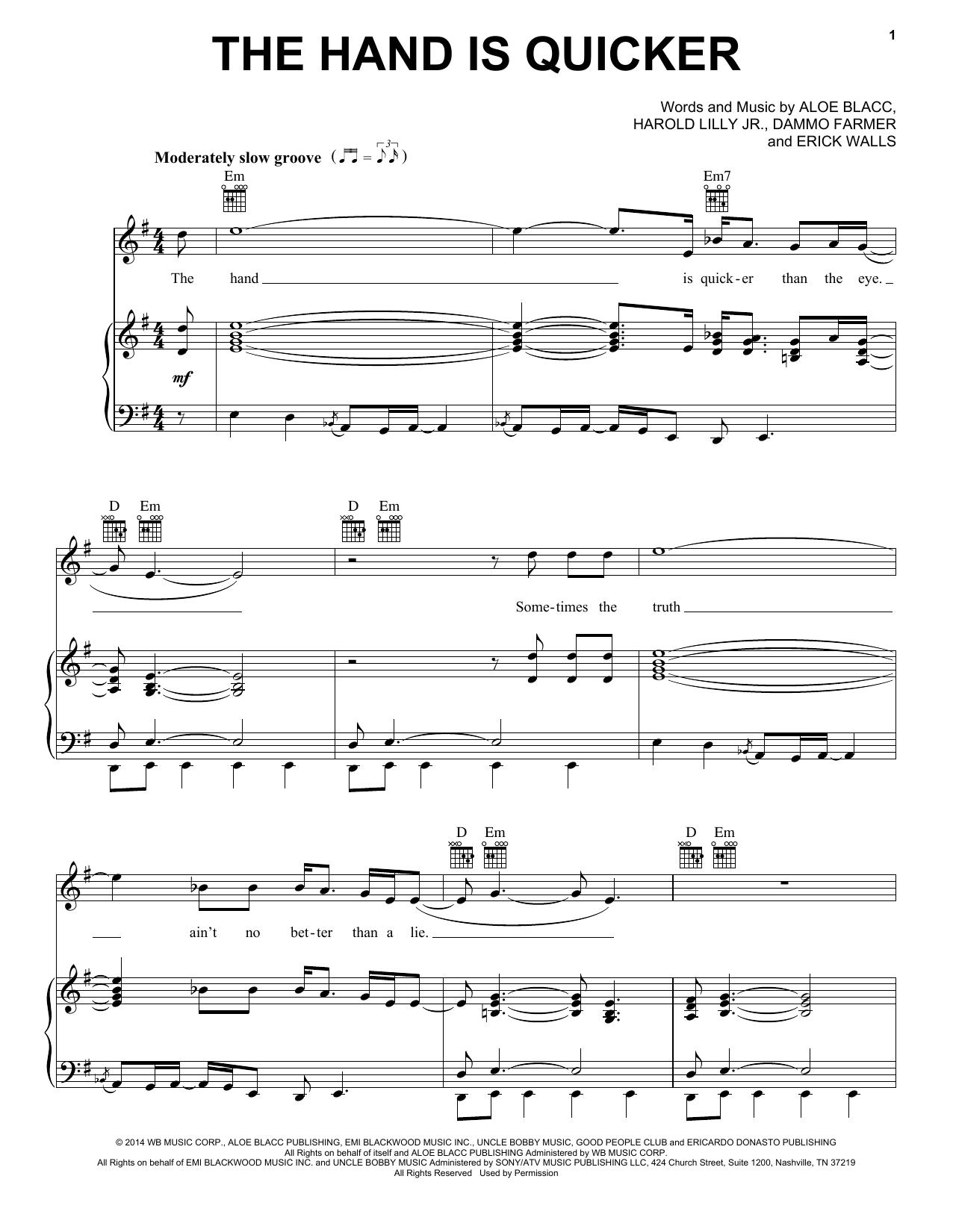 Partition piano The Hand Is Quicker de Aloe Blacc - Piano Voix Guitare (Mélodie Main Droite)