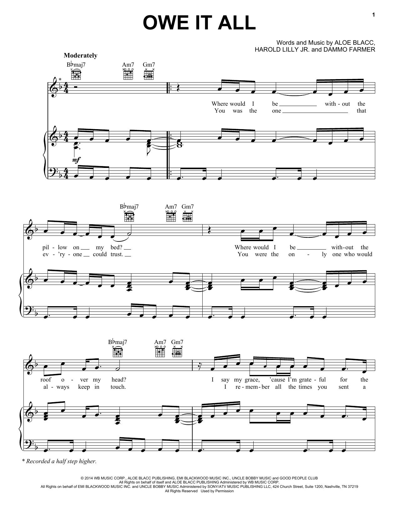 Partition piano Owe It All de Aloe Blacc - Piano Voix Guitare (Mélodie Main Droite)