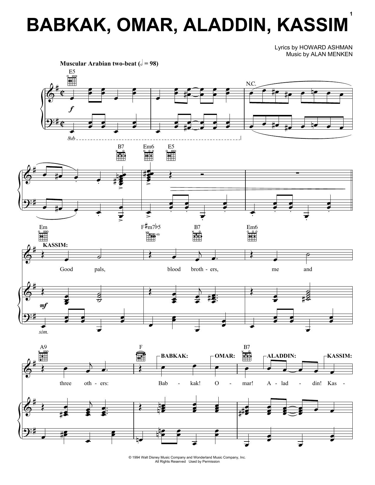 Partition piano Babkak, Omar, Aladdin, Kassim de Alan Menken - Piano Voix Guitare (Mélodie Main Droite)
