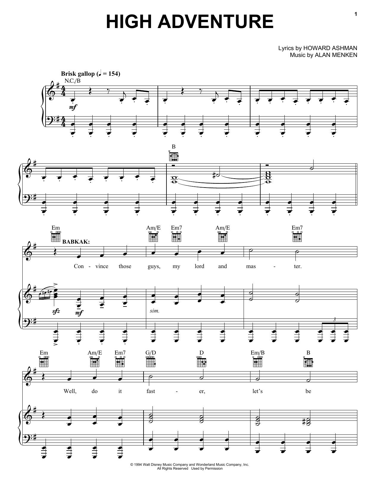 Partition piano High Adventure de Alan Menken - Piano Voix Guitare (Mélodie Main Droite)