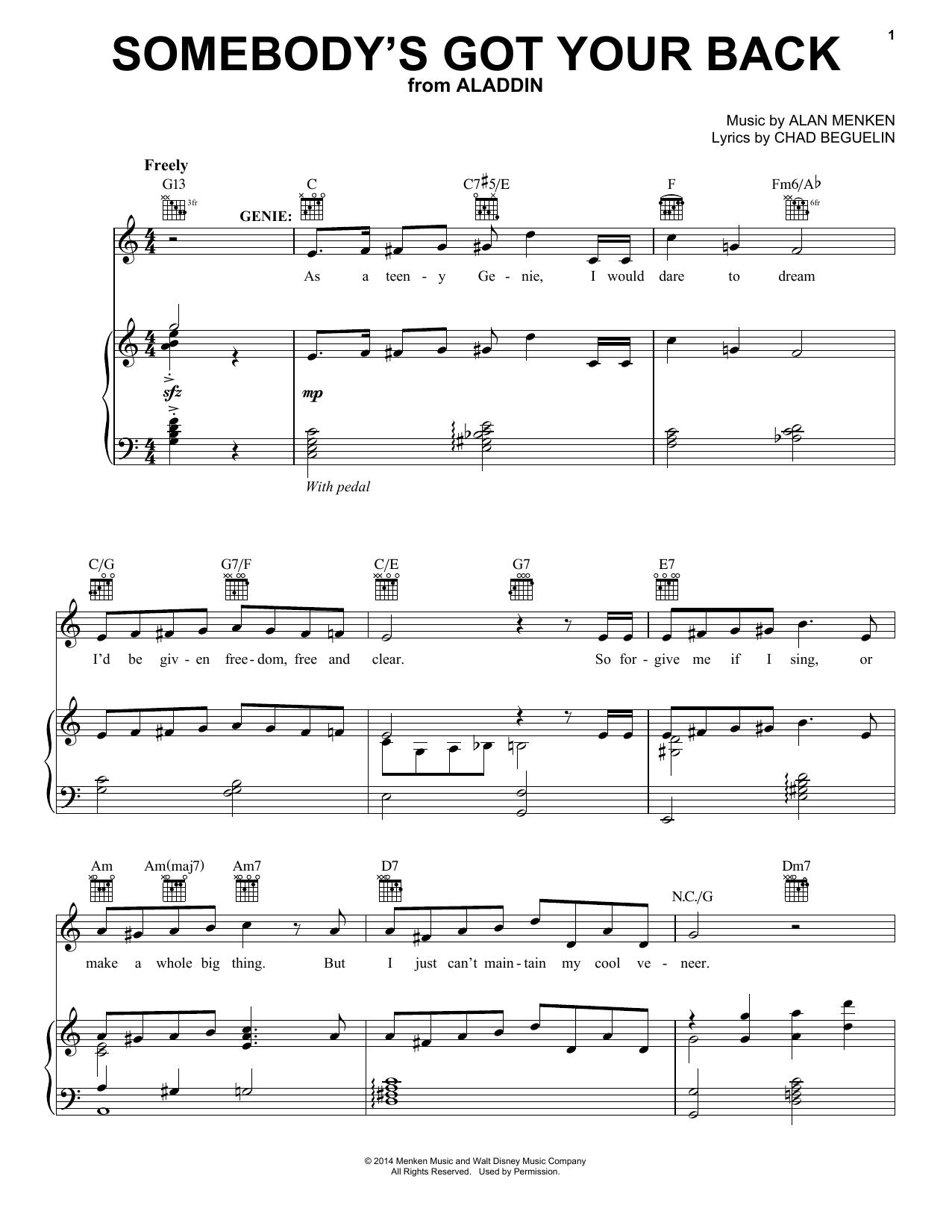 Partition piano Somebody's Got Your Back de Alan Menken - Piano Voix Guitare (Mélodie Main Droite)