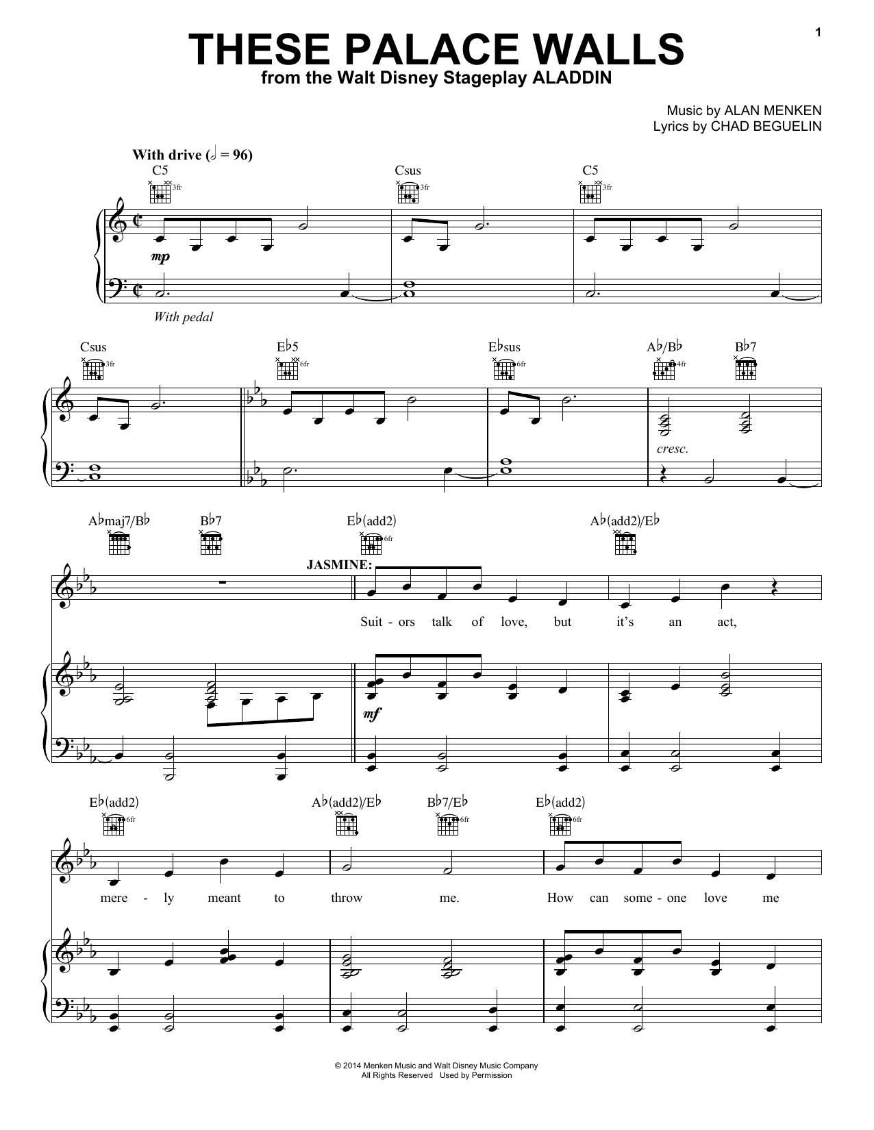 Partition piano These Palace Walls de Alan Menken - Piano Voix Guitare (Mélodie Main Droite)