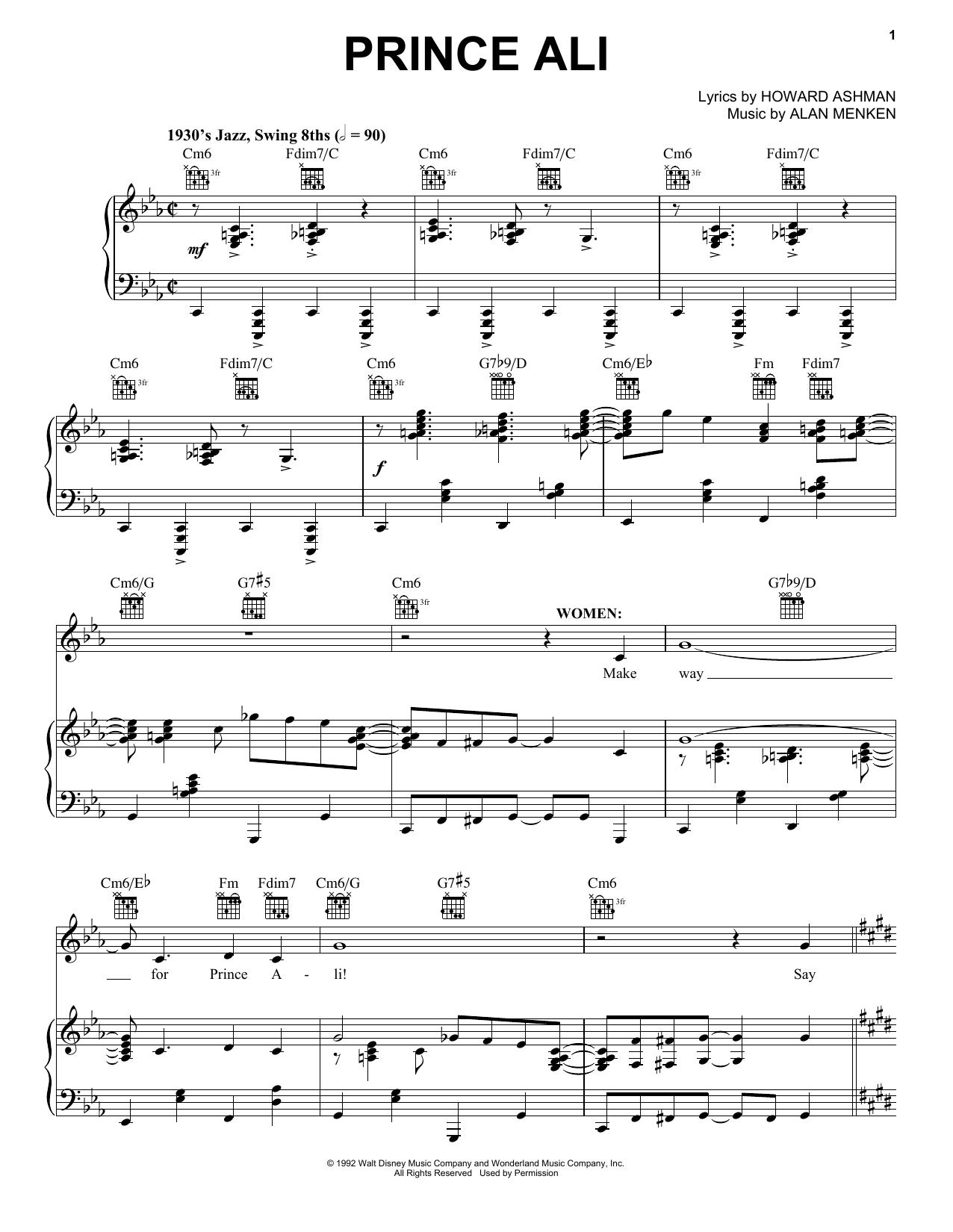Partition piano Prince Ali de Alan Menken - Piano Voix Guitare (Mélodie Main Droite)