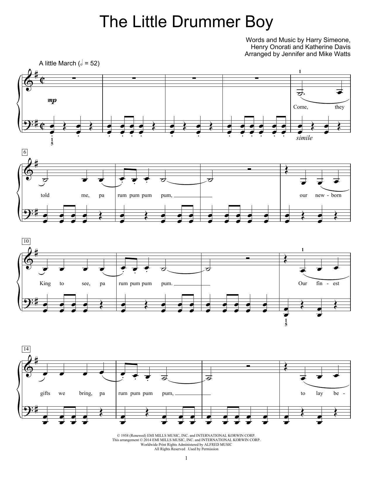 Partition piano The Little Drummer Boy de Katherine Davis - Piano Facile