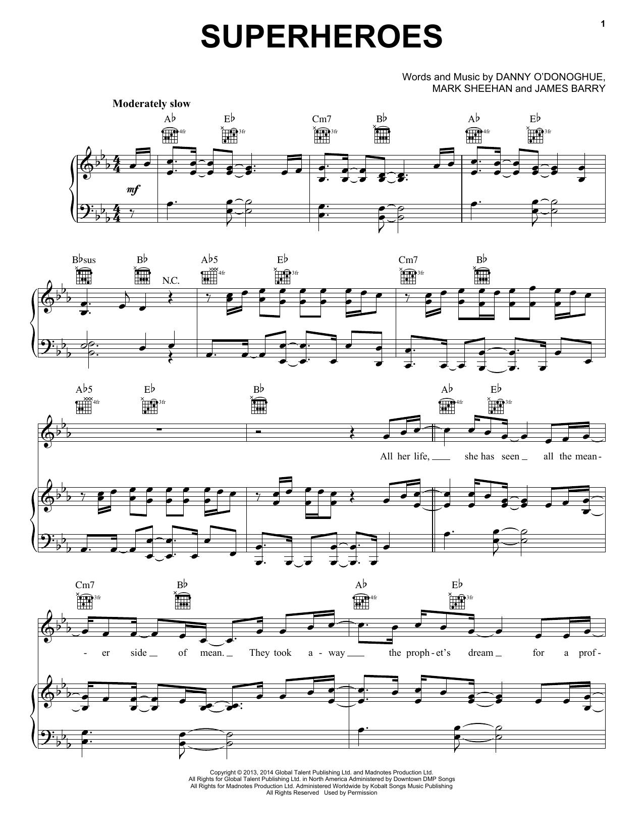 Partition piano Superheroes de The Script - Piano Voix Guitare (Mélodie Main Droite)