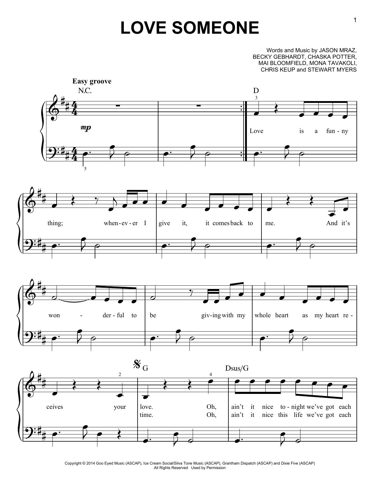 Partition piano Love Someone de Jason Mraz - Piano Facile