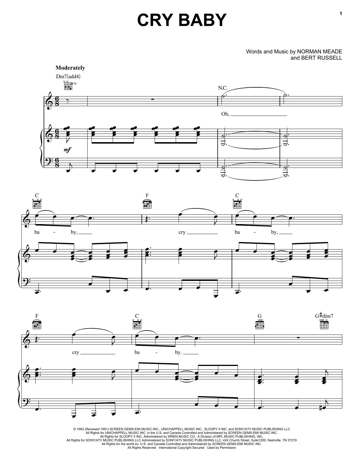 Partition piano Cry Baby de Janis Joplin - Piano Voix Guitare (Mélodie Main Droite)