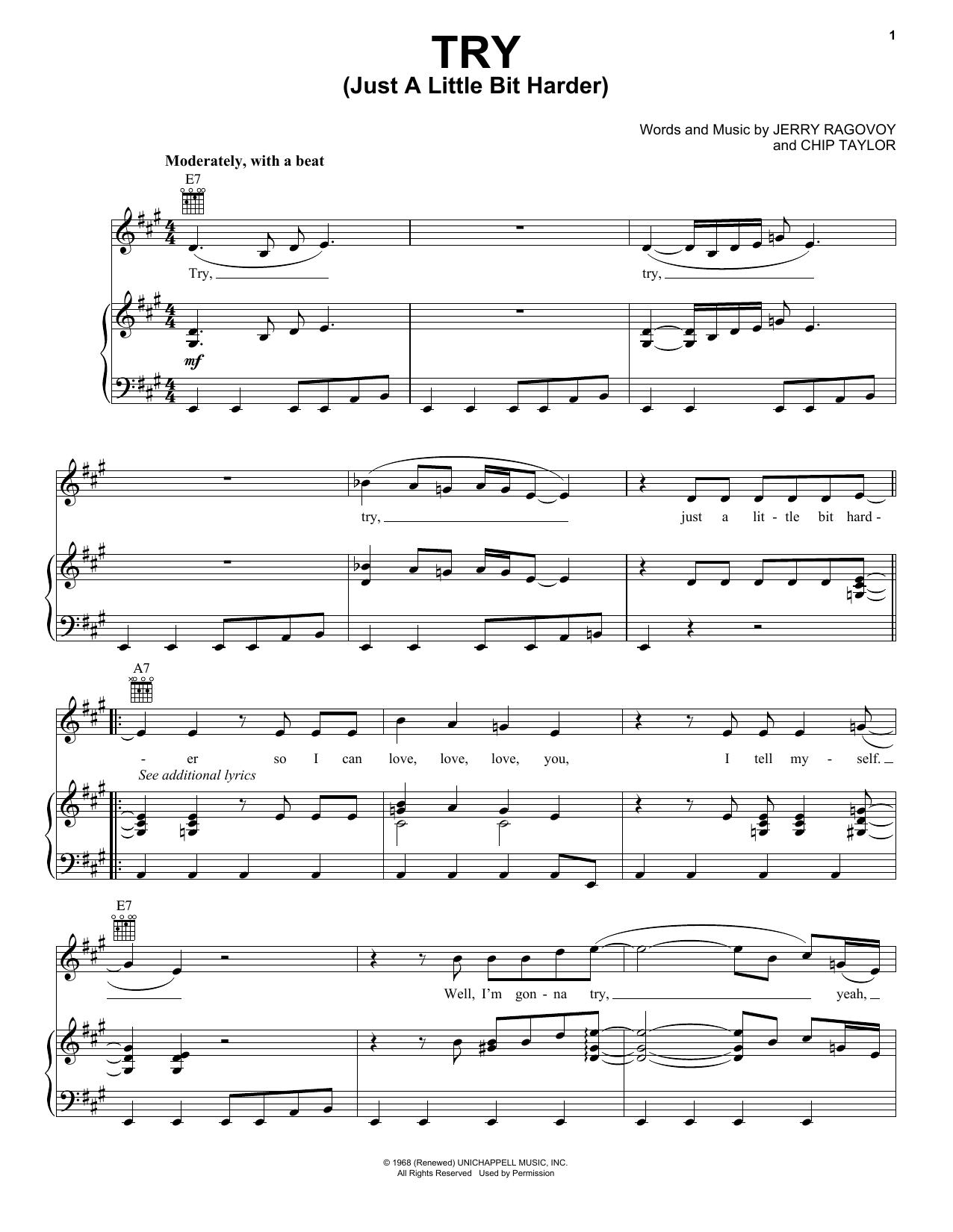 Partition piano Try (Just A Little Bit Harder) de Janis Joplin - Piano Voix Guitare (Mélodie Main Droite)