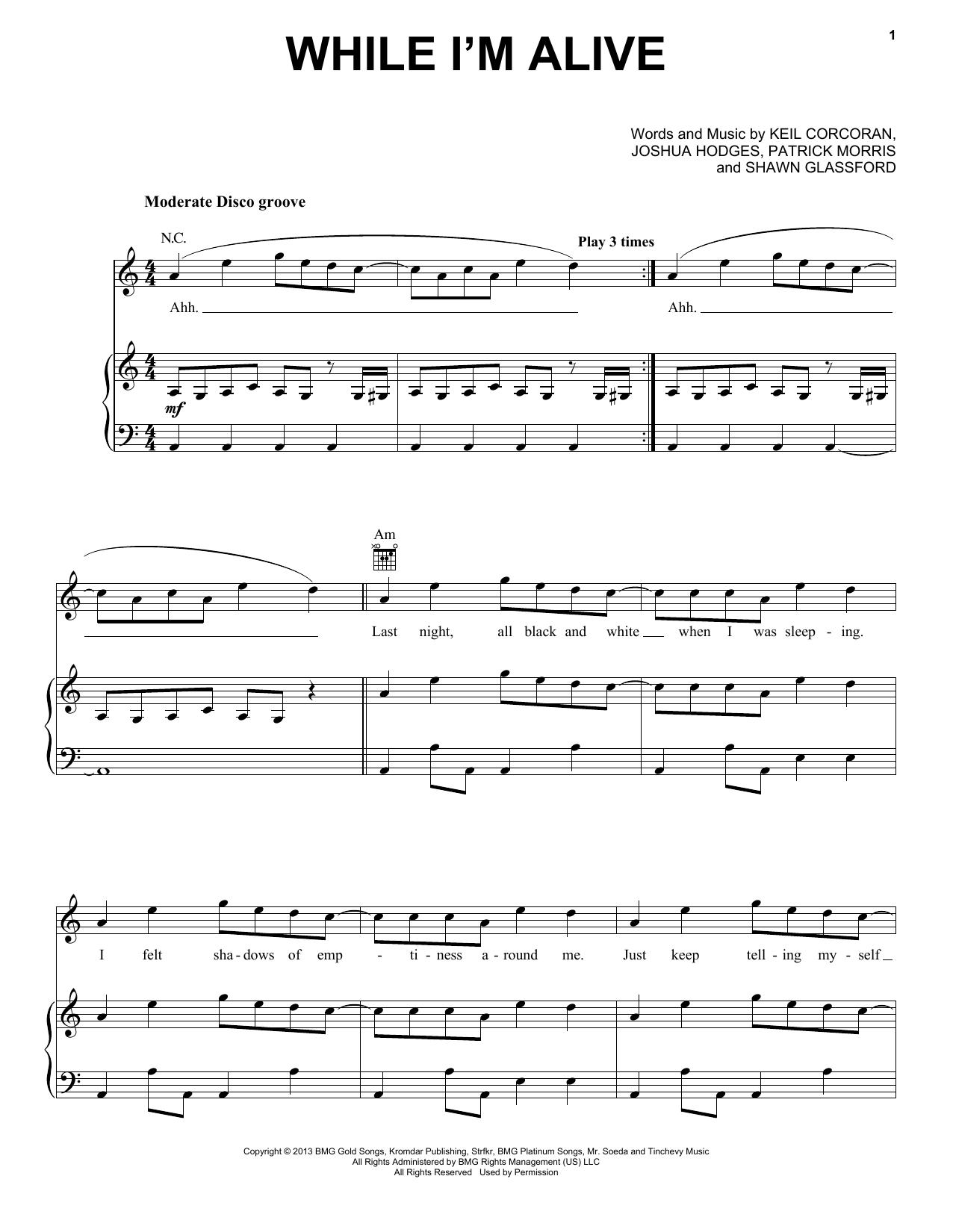 Partition piano While I'm Alive de Strfkr - Piano Voix Guitare (Mélodie Main Droite)