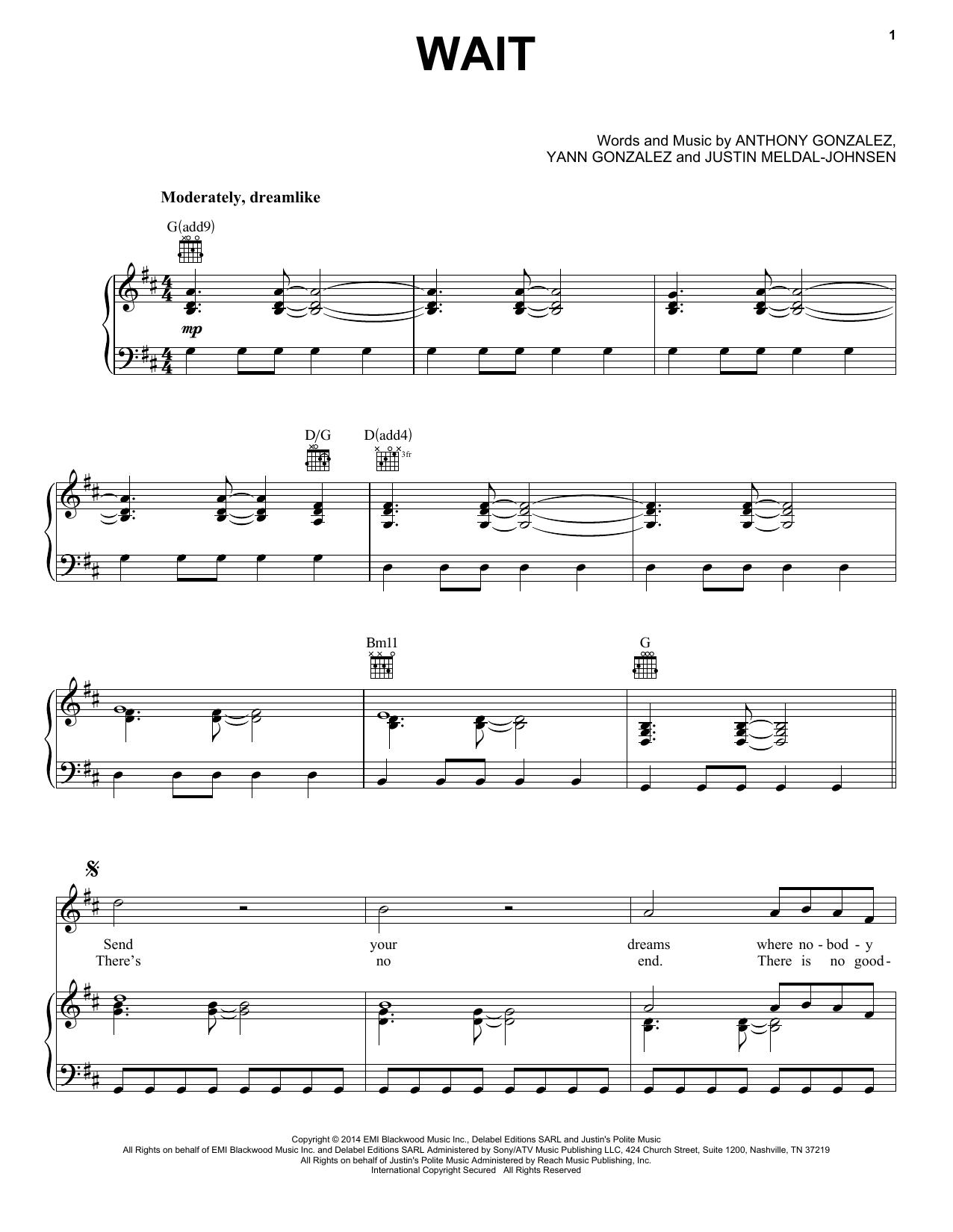 Partition piano Wait de M83 - Piano Voix Guitare (Mélodie Main Droite)