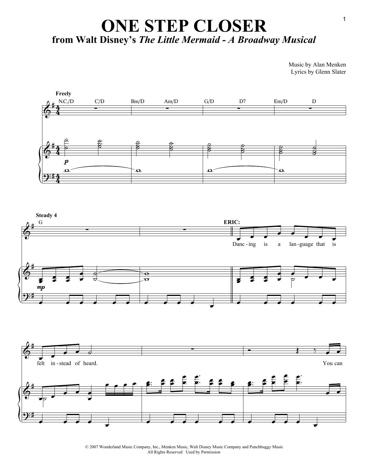 Partition piano One Step Closer de Alan Menken - Piano Voix