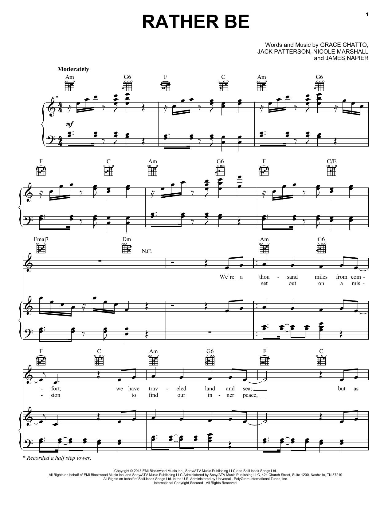 Partition piano Rather Be (feat. Jess Glynne) de Clean Bandit - Piano Voix Guitare (Mélodie Main Droite)