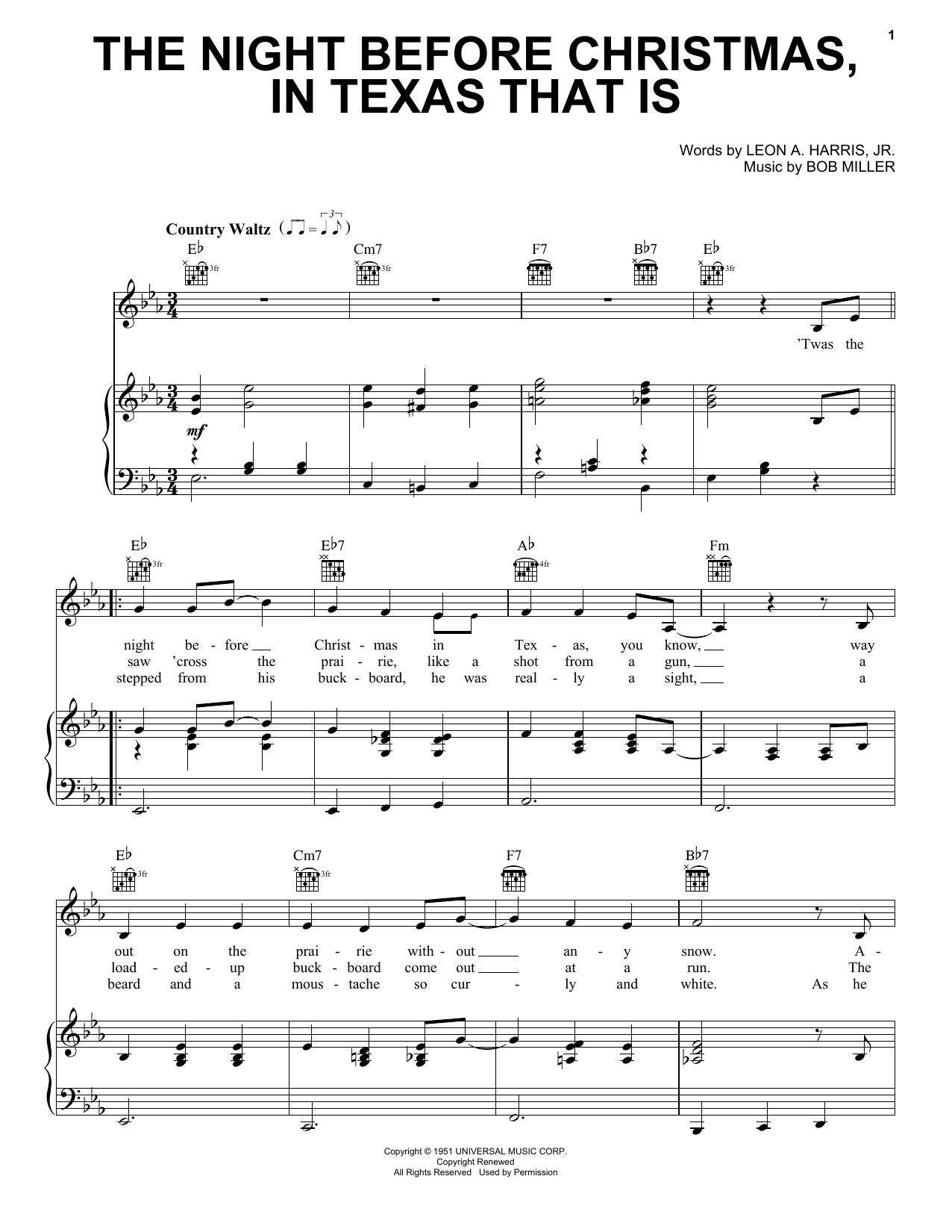 Partition piano The Night Before Christmas, In Texas That Is de Gene Autry - Piano Voix Guitare (Mélodie Main Droite)