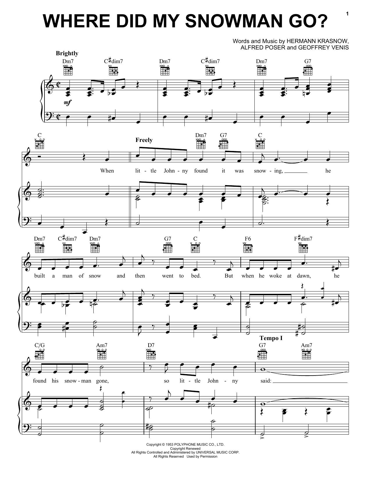 Partition piano Where Did My Snowman Go? de Gene Autry - Piano Voix Guitare (Mélodie Main Droite)