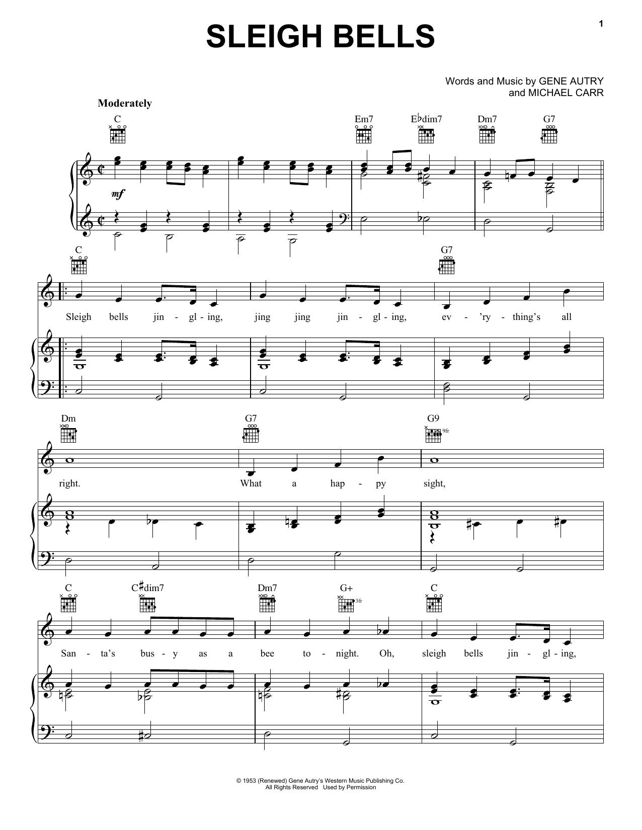 Partition piano Sleigh Bells de Gene Autry - Piano Voix Guitare (Mélodie Main Droite)