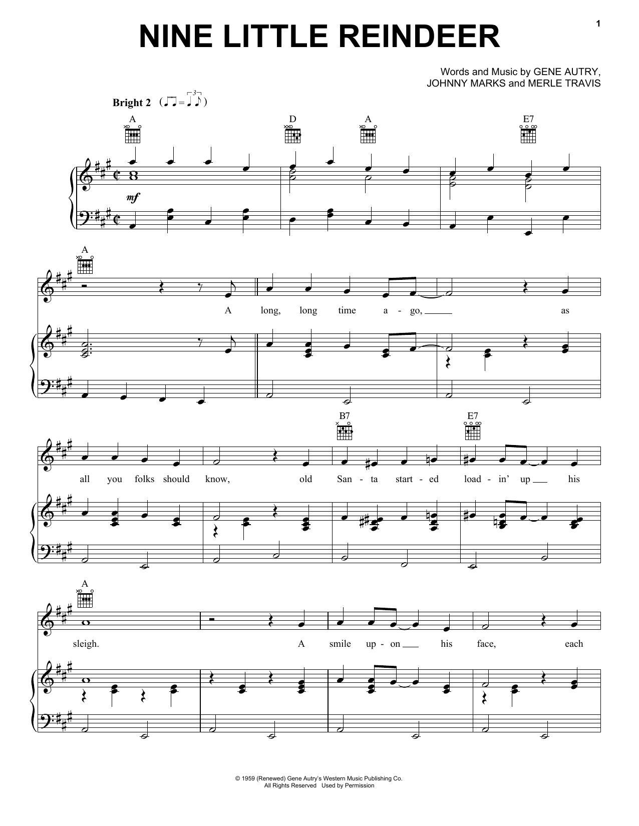 Partition piano Nine Little Reindeer de Gene Autry - Piano Voix Guitare (Mélodie Main Droite)