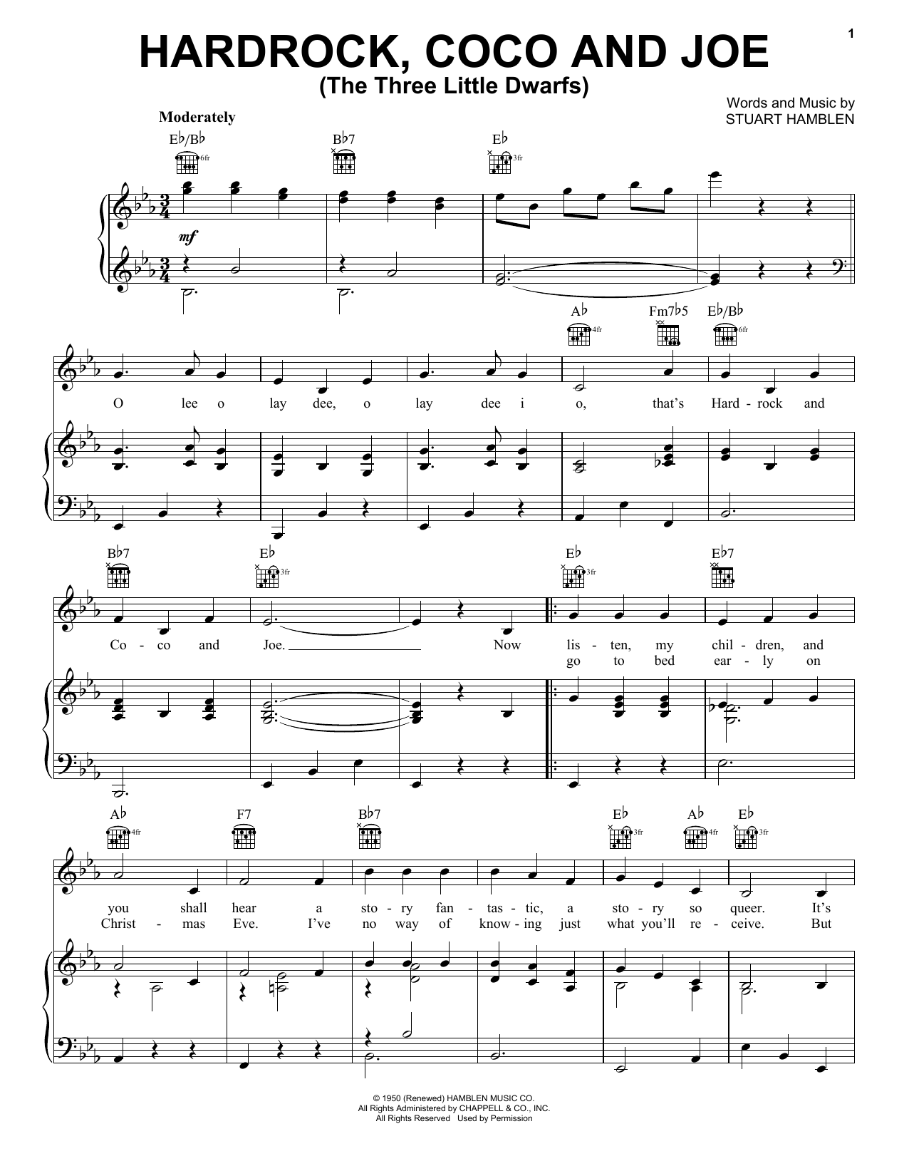 Partition piano Hardrock, Coco and Joe (The Three Little Dwarfs) de Gene Autry - Piano Voix Guitare (Mélodie Main Droite)
