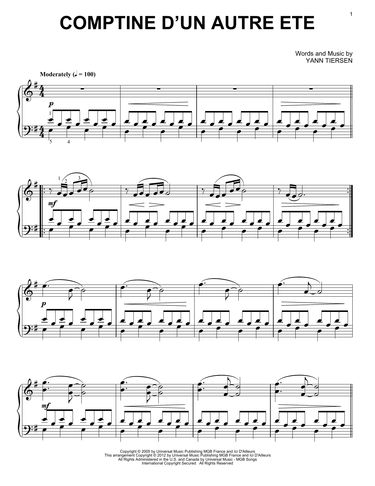 Yann Tiersen - Comptine D'Un Autre Ete