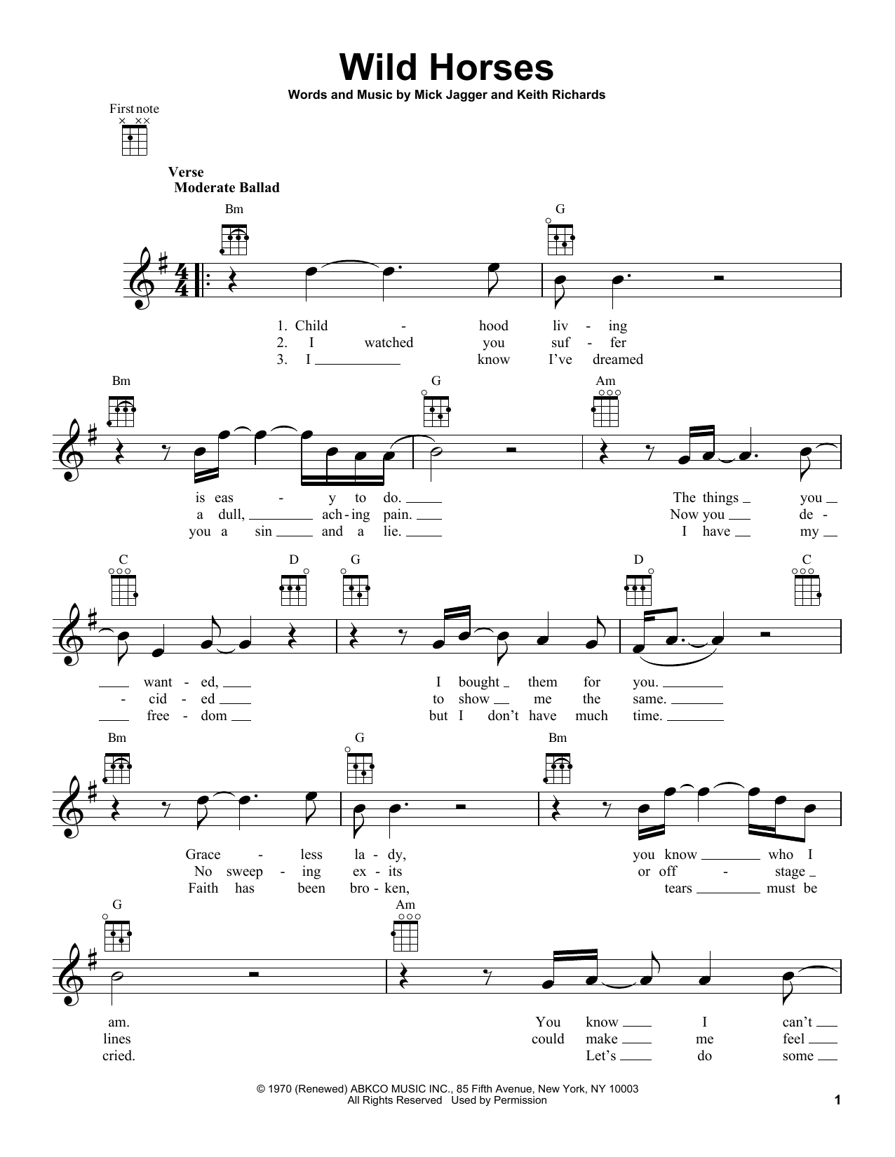 Tablature guitare Wild Horses de The Rolling Stones - Ukulele