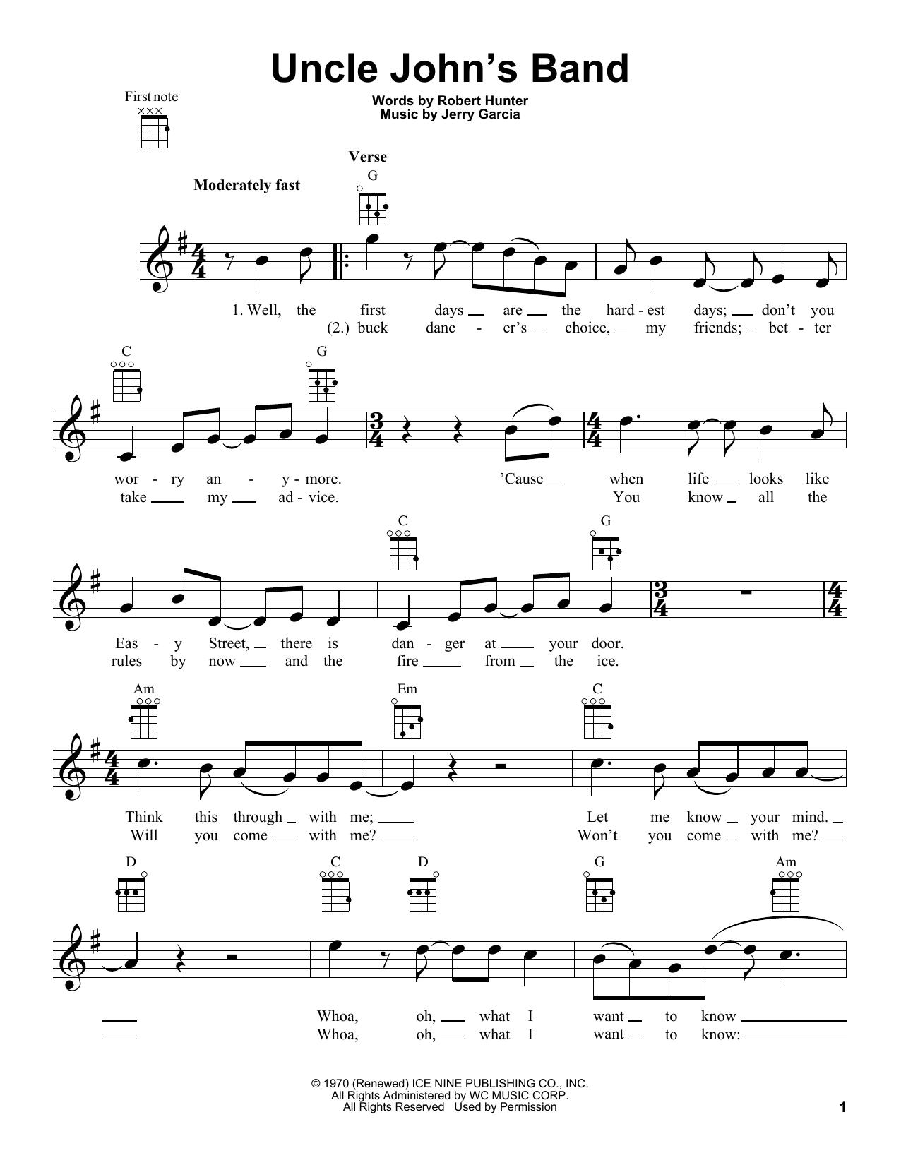 Tablature guitare Uncle John's Band de Grateful Dead - Ukulele
