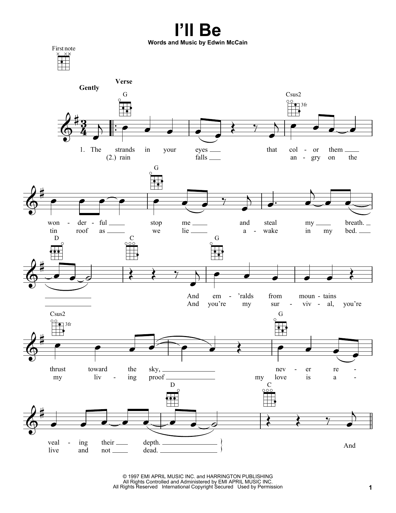 Tablature guitare I'll Be de Edwin McCain - Ukulele