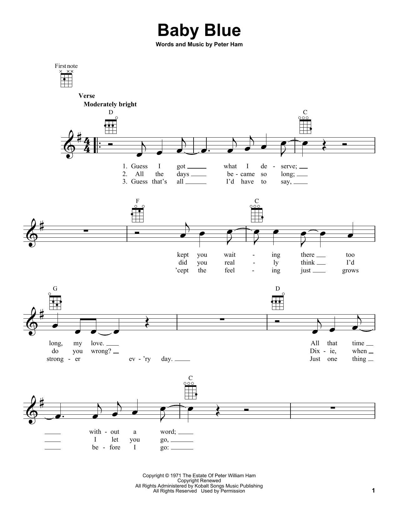 Tablature guitare Baby Blue de Badfinger - Ukulele