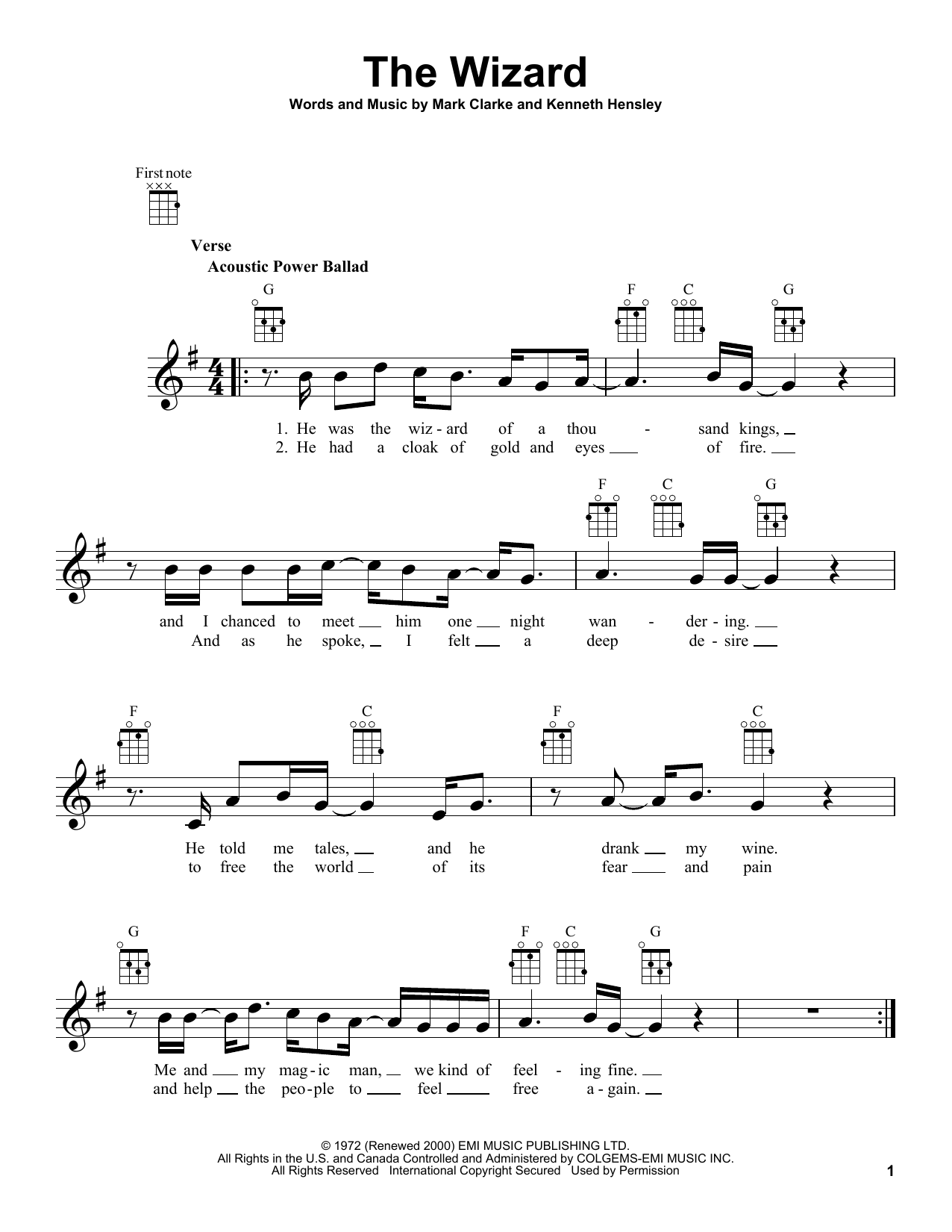 Tablature guitare The Wizard de Mark Clarke - Ukulele