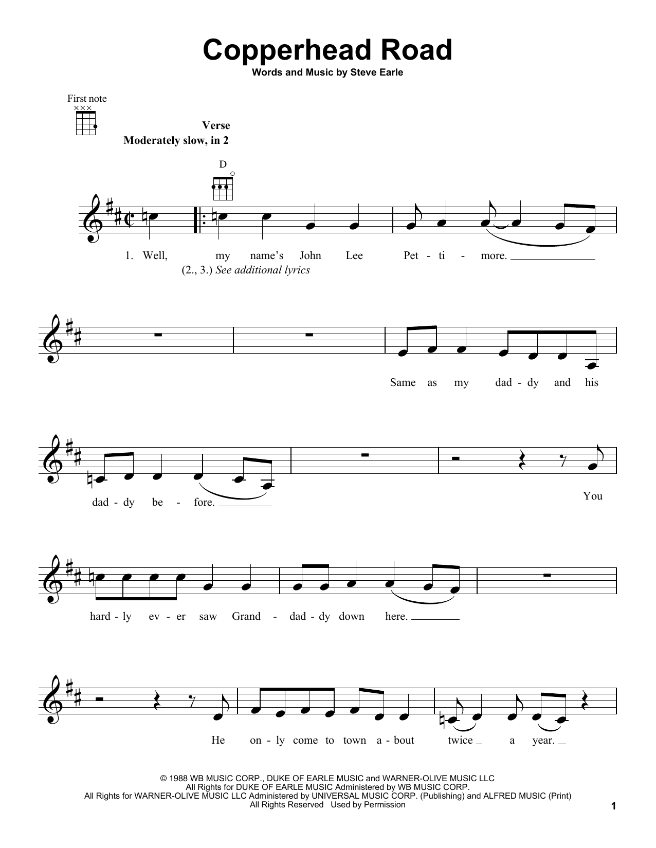 Copperhead Road : Sheet Music Direct