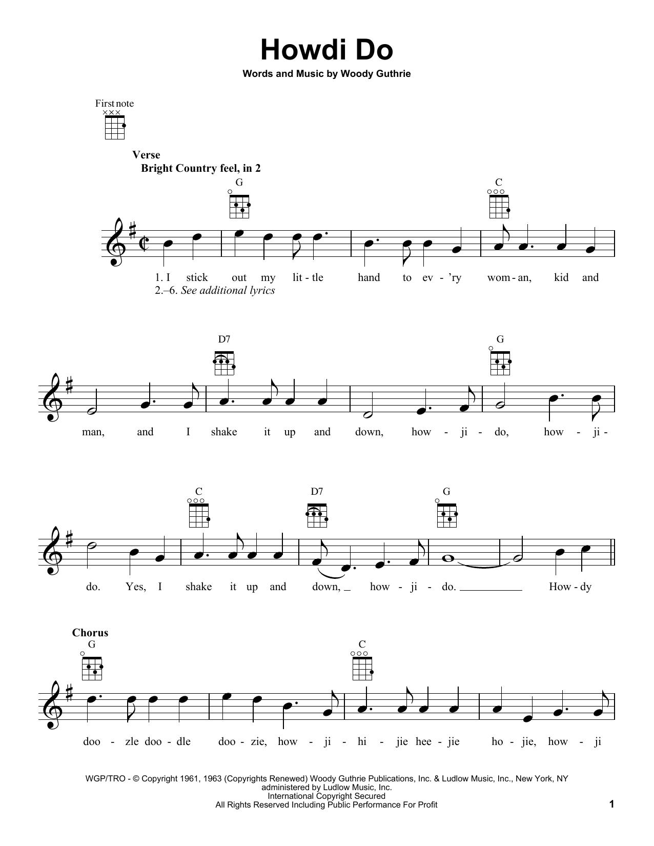 Tablature guitare Howdi Do de Woody Guthrie - Ukulele