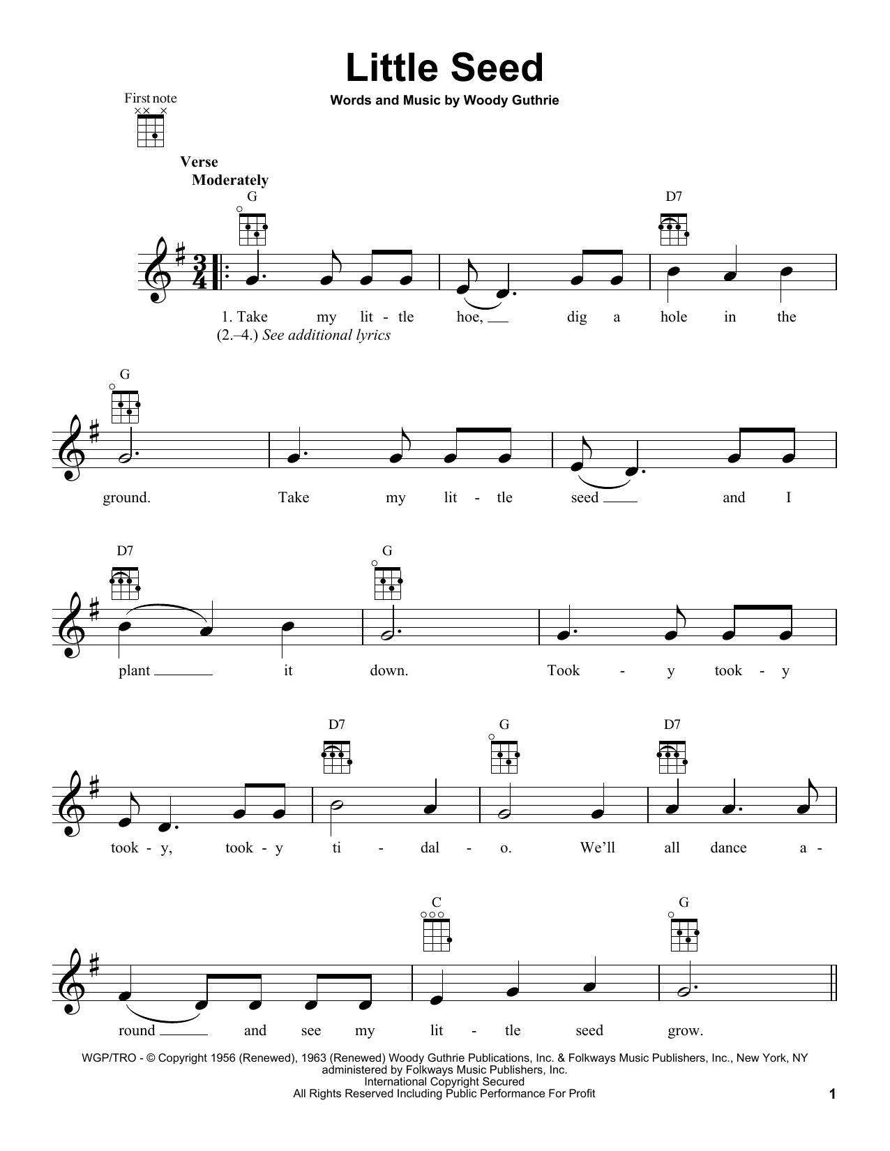 Tablature guitare Little Seed de Woody Guthrie - Ukulele