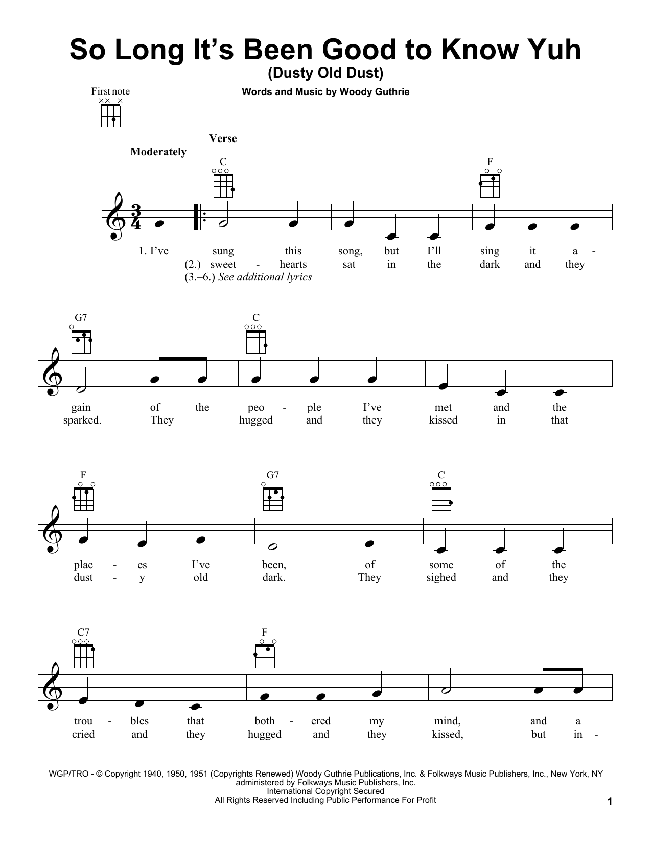 Tablature guitare So Long It's Been Good To Know Yuh (Dusty Old Dust) de Woody Guthrie - Ukulele