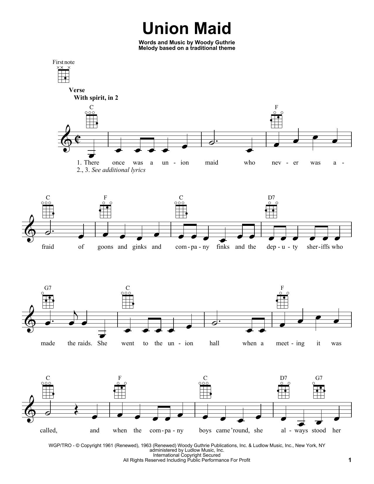 Tablature guitare Union Maid de Woody Guthrie - Ukulele