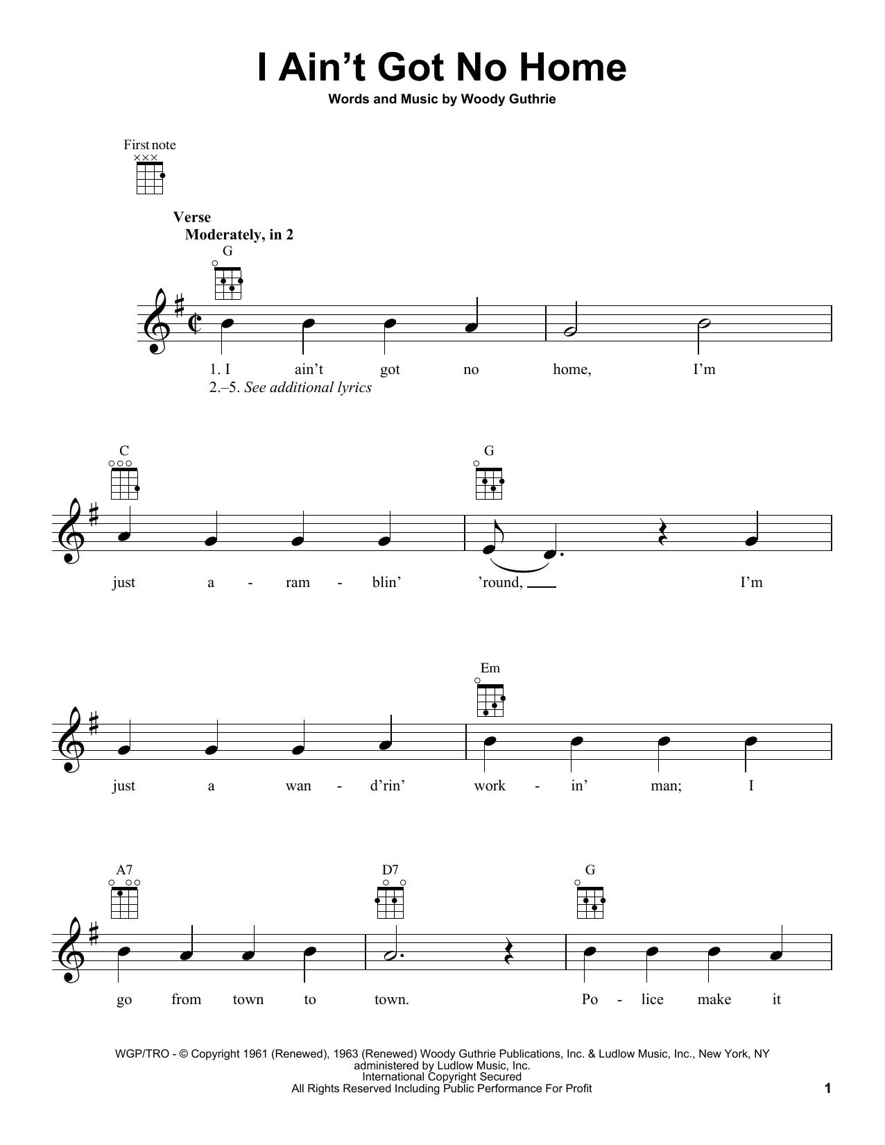 Tablature guitare I Ain't Got No Home de Woody Guthrie - Ukulele