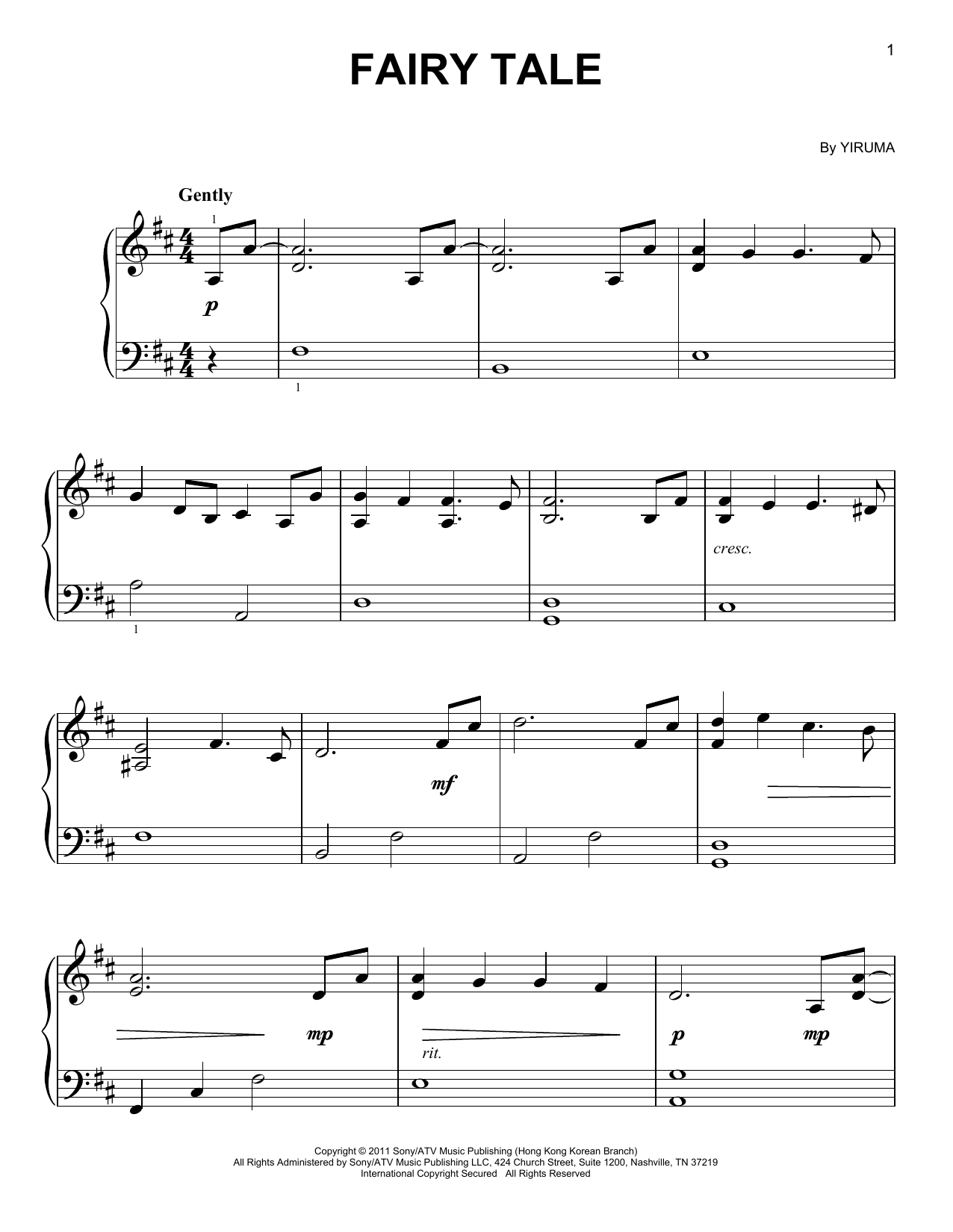Partition piano Fairy Tale de Yiruma - Piano Facile