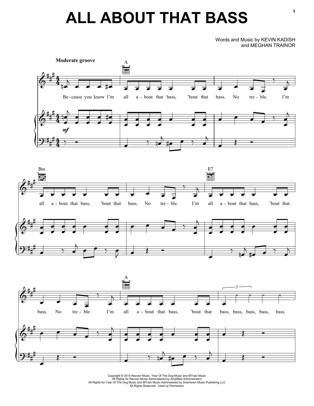Partition piano All About That Bass de Meghan Trainor - Piano Voix Guitare (Mélodie Main Droite)