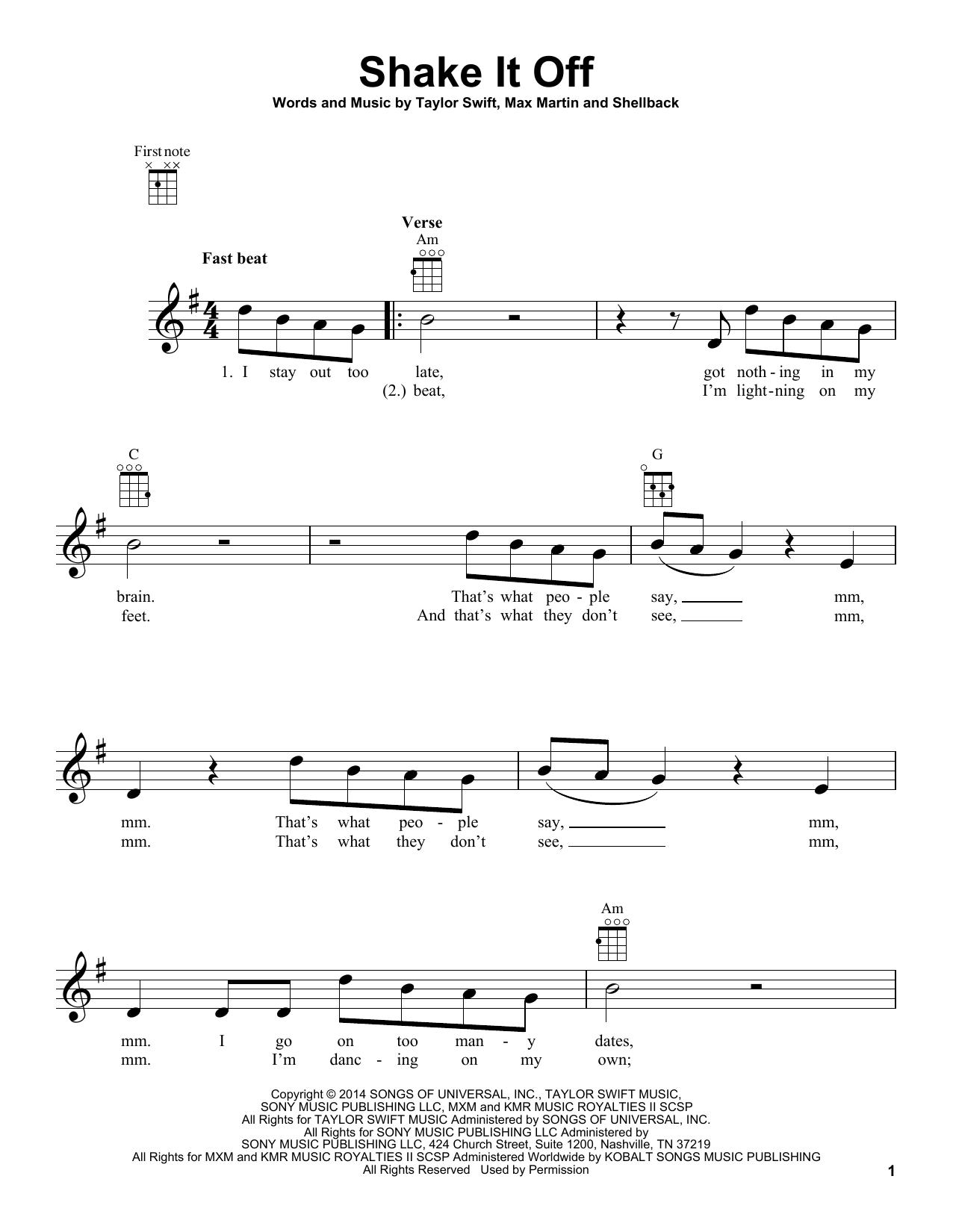 Tablature guitare Shake It Off de Taylor Swift - Ukulele