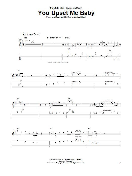 Tablature guitare You Upset Me Baby de B.B. King - Tablature Guitare