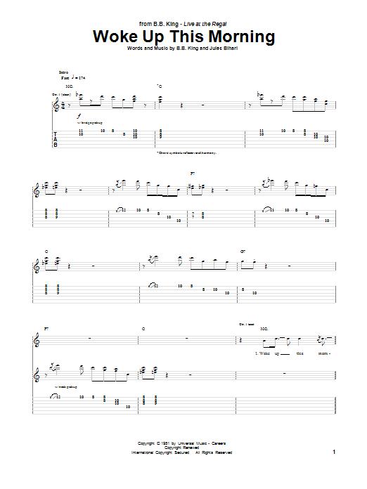 Tablature guitare Woke Up This Morning de B.B. King - Tablature Guitare