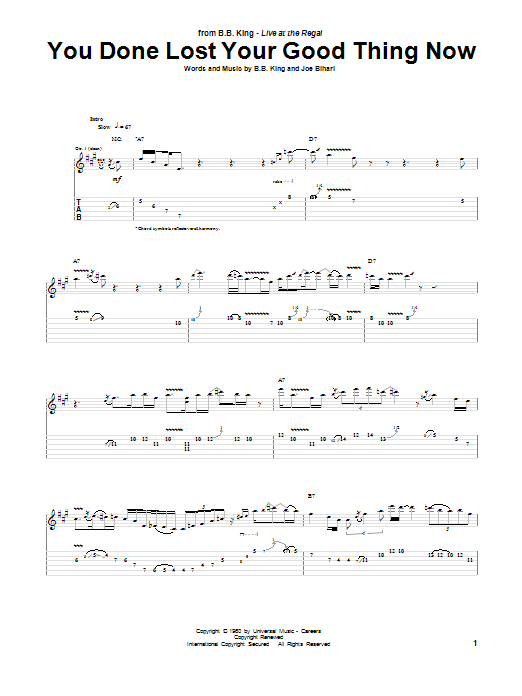 Tablature guitare You Done Lost Your Good Thing Now de B.B. King - Tablature Guitare