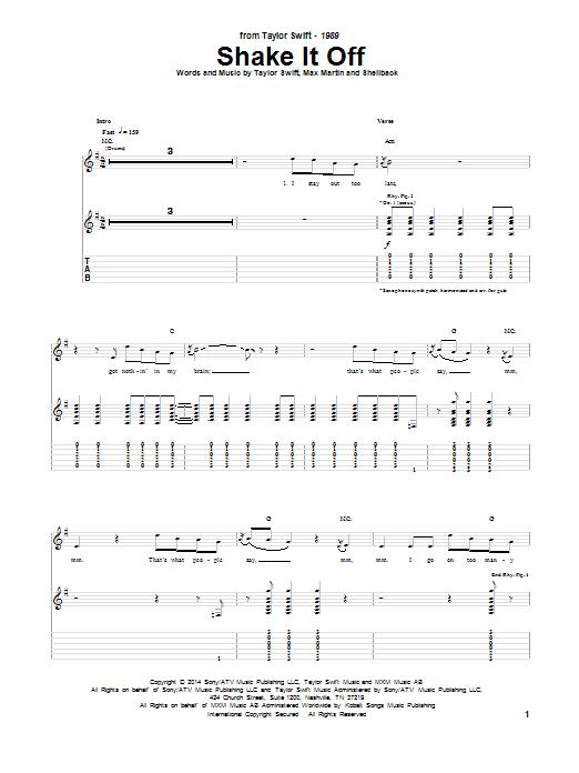 Tablature guitare Shake It Off de Taylor Swift - Tablature Guitare